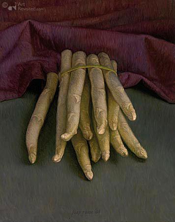 Asperges met paarse stof
