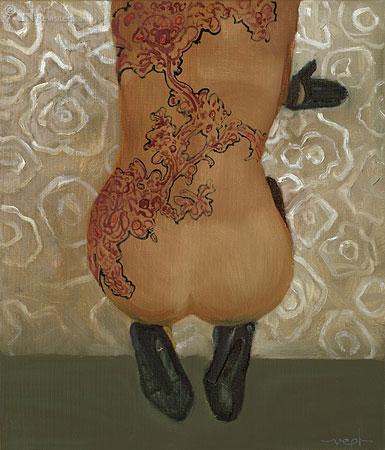 Knielend naakt-bloemen tattoo