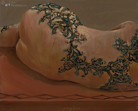 Liggend naakt-bloemen tattoo 2