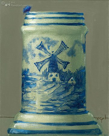 Compositie Delftsblauw met korenbloemen