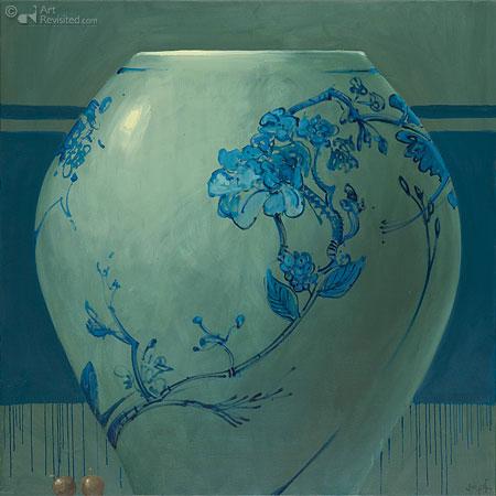 Compositie bolle bloemenvaas met twee aalbessen