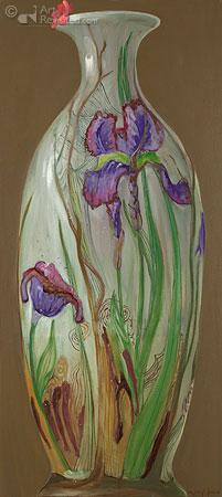 Compositie met Irisvaas en geraniumbloesum