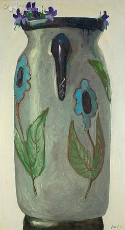 Compositie met bloemenvaas en viola tricolora