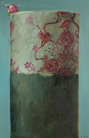 Compositie met bloemenvaas en pioenroos 2