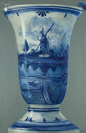 Compositie Delftsblauw met korenbloemen 2