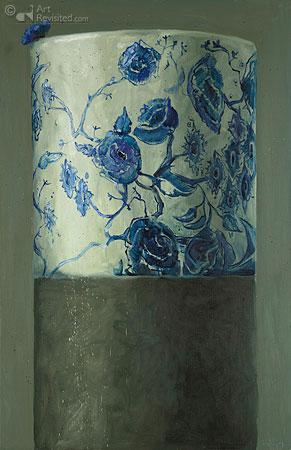 Compositie met bloemenvaas en korenbloemen