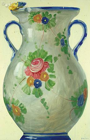 Compositie met bloemenvaas en boter- en korenbloemen