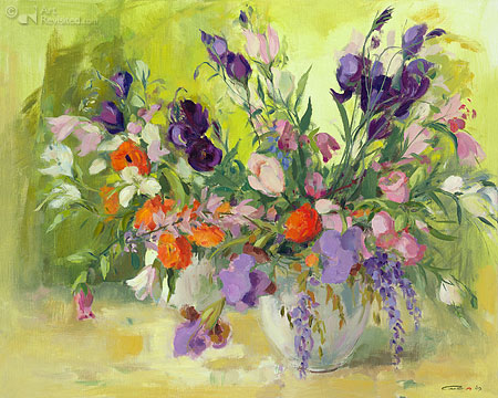 Purple flowers still life