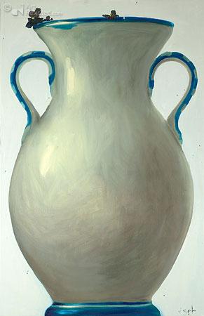 Compositie blauwe vaas met Black Beauty