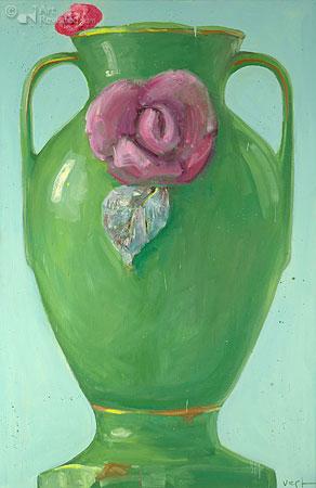 Compositie groene bloemenvaas met geranium