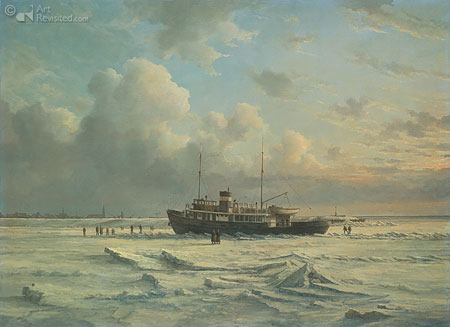 Ferry MS 'Vlieland' stuck in the ice