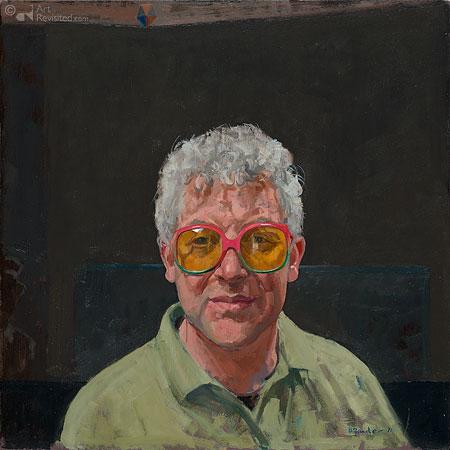 Zelfportret door gekleurde bril