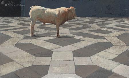 Stier op venetiaanse vloer