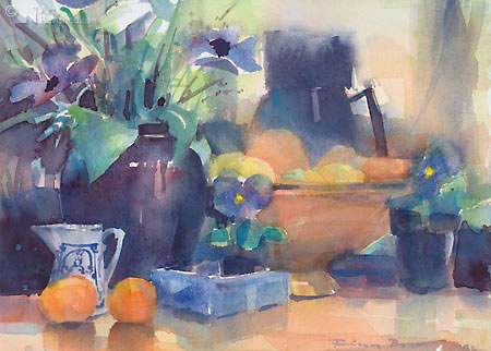 Stilleven met anemonen