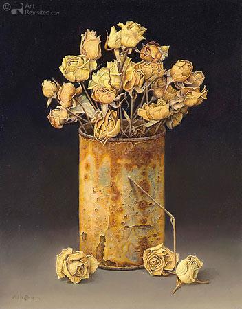 Blikje met gedroogde roosjes