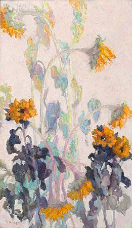 Zonnebloemen in herfstlicht