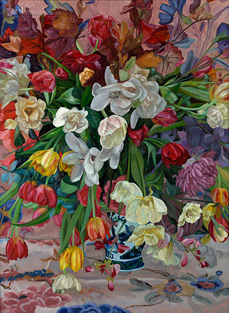 Vase with colored flowers