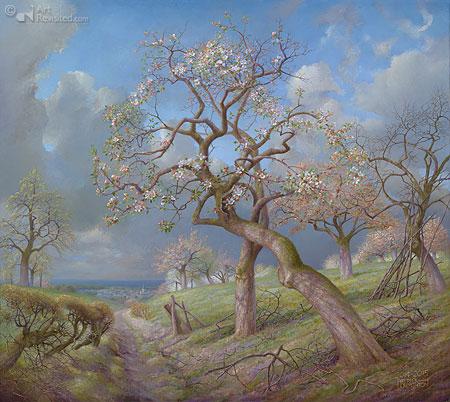 Bloeiende appelbomen met Maasvallei