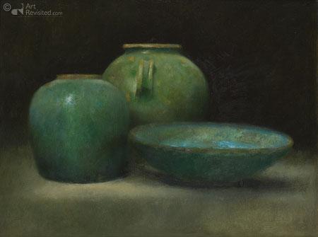 Twee groene en de blauwe schaal