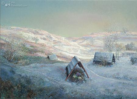 Laatste rustplaats, grafdakjes in de sneeuw