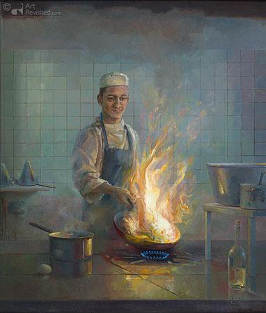 Flamberende kok