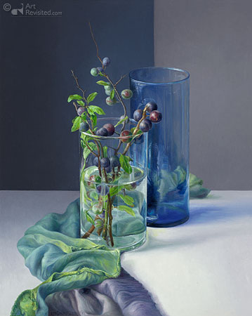 Sleedoorn met blauwe vaas