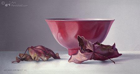 Roze kom met bladeren