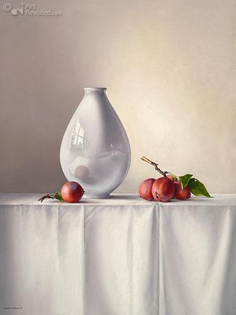 Witte Vaas met Sierappel