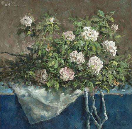 Witte rozen op stoffen tasje