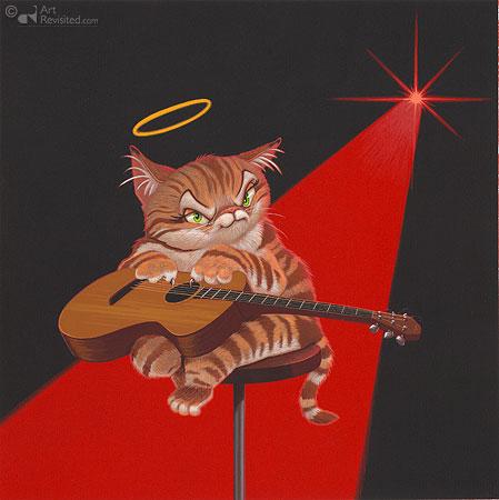 Kat met Gitaar