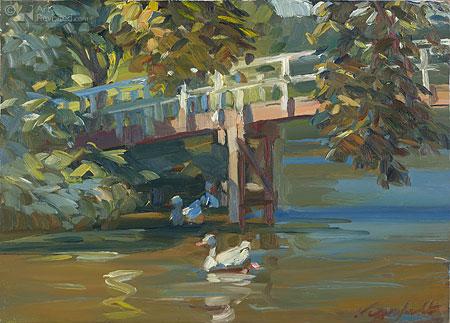 Ganzen bij brug