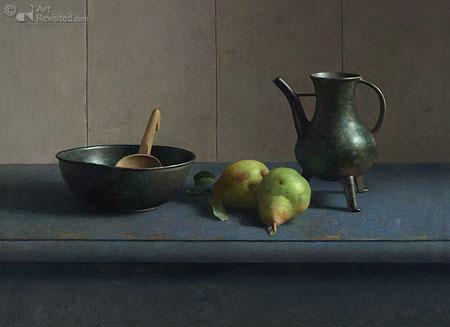 Stilleven met bronzen schenkkan, bronzen nap en peren