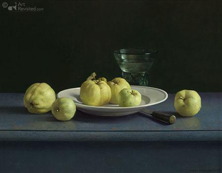 Stilleven met appels van de tuin van de Menkemaborg