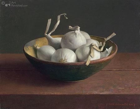 Houten nap met witte uien