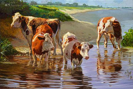 Koeien staand in het water