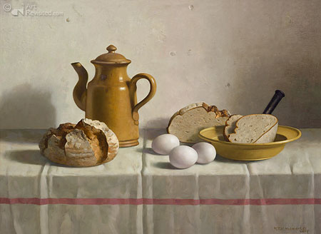 Bread from Emden, eggs and coffee pot