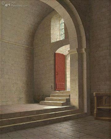 Binnenvallend licht in de kloosterkerk van Le Thoronet, Z. Frankrijk