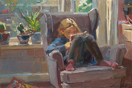Lezend meisje op stoel