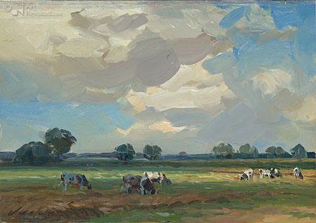 Grazende kudde met wolkenlucht