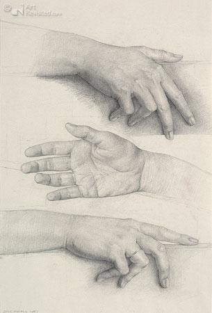Studie van drie handen
