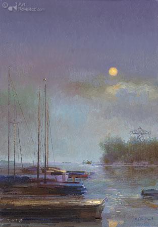 Fries haventje bij nacht