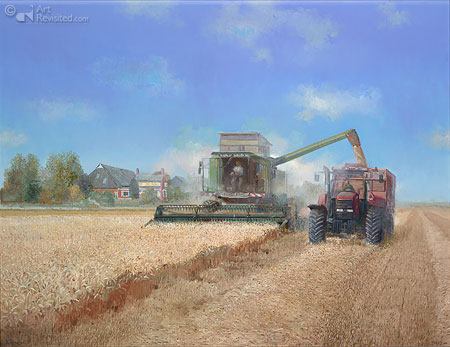 Combine in Gronings landschap
