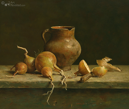 Still life with jug and onions