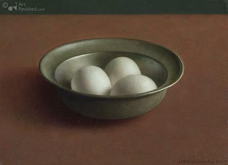 Tinnen schaaltje met eieren