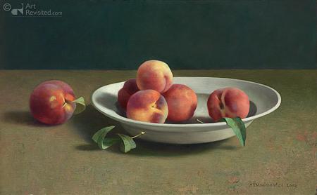 Delftswitte schaal met perziken