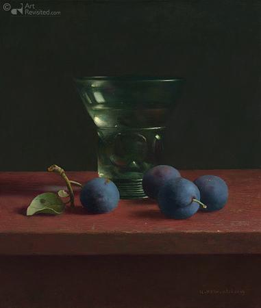 Blauwe pruimen en wijnglas