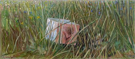 Verloren blokje tussen het gras
