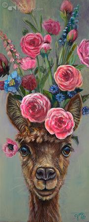 Alpaca met rozenboeket