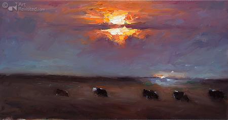 Koeien bij ondergaande zon