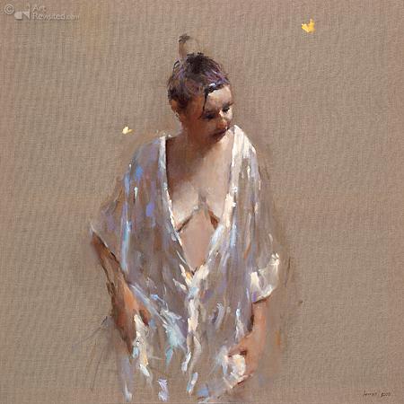 Model met witte kimono